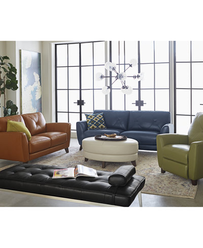 Myia Leather Sofa Collection, Created for Macy\'s - Furniture - Macy\'s