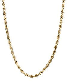 """14k Gold Necklace, 20"""" Rope Chain (1-3/4mm)"""