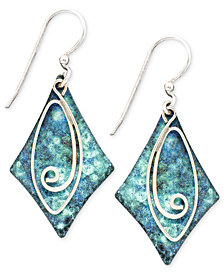 Jody Coyote Patina Brass Earrings, Blue Diamond Swirl Drop Earrings