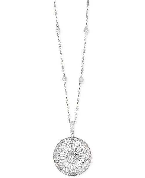 5763b822996 EFFY® Diamond Filigree Pendant 18 Necklace (1 ct. t.w.) in 14k Gold, White  Gold or Rose Gold