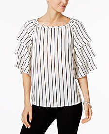 Charter Club Petite Striped Tiered-Sleeve Top, Created for Macy's