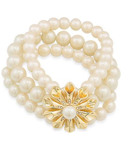 Carolee Gold-Tone Pavé & Imitation Pearl Flower Stretch Bracelet