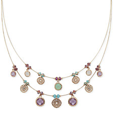 lonna & lilly Gold-Tone Multi-Stone Disk Beaded Double-Row Necklace