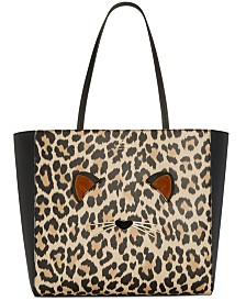 Kate spade purses handbags macys kate spade new york run wild leopard hallie medium tote junglespirit Gallery