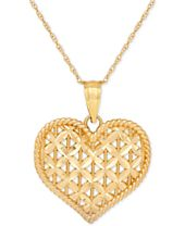Openwork Puff Heart Pendant Necklace in 10k Gold