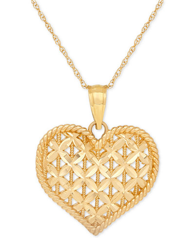 Openwork puff heart pendant necklace in 10k gold necklaces openwork puff heart pendant necklace in 10k gold mozeypictures Choice Image