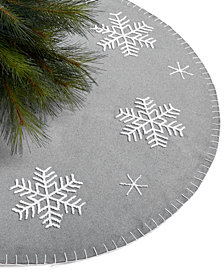 Holiday Lane Gray Snowflake Tree Skirt, Created for Macy's