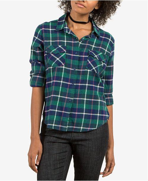 Volcom Juniors' New Flame Plaid Button-Front Shirt
