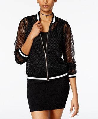 Say What? Juniors' Mesh Bomber Jacket