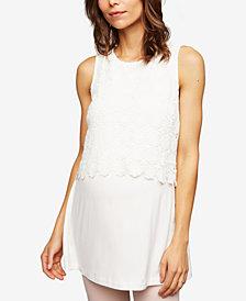 Luxe Essentials Maternity Cotton Crochet-Overlay Tunic