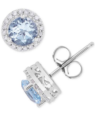 Birthstone & Diamond (1/8 ct. t.w.) Halo Stud Earrings in 14k Gold