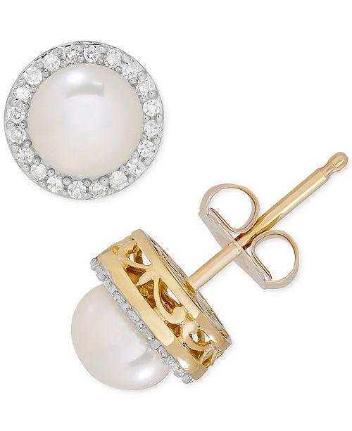 99d0bb378 ... Macy's Birthstone & Diamond (1/8 ct. t.w.) Halo Stud Earrings in ...
