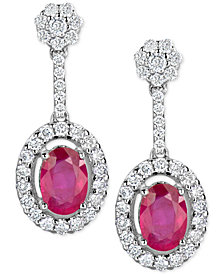 Certified Ruby (1-1/5 ct. t.w.) & Diamond (1/2 ct. t.w.) Drop Earrings in 14k White Gold