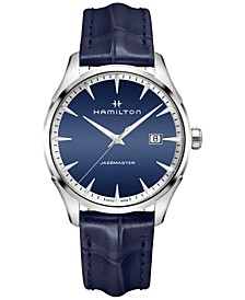 Men's Swiss Jazzmaster Blue Leather Strap Watch 40mm