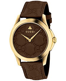 Gucci Unisex Swiss G-Timeless Dark Brown Leather Strap Watch 38mm