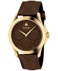 Gucci Unisex Swiss G-Timeless Dark Brown Leather Strap Watch 38mm