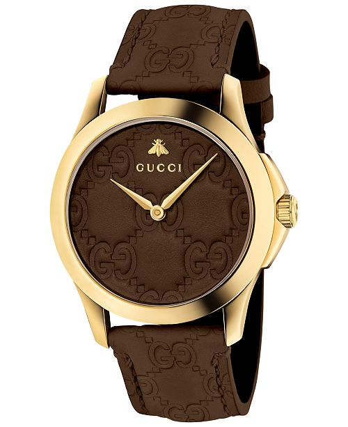 e3e84b603b6 ... Gucci Unisex Swiss G-Timeless Dark Brown Leather Strap Watch 38mm ...