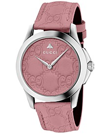 Women's Swiss G-Timeless Candy Pink Leather Strap Watch 38mm