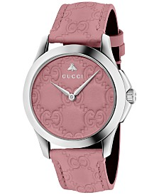 Gucci Women's Swiss G-Timeless Candy Pink Leather Strap Watch 38mm