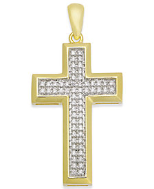 Men's Diamond Cross Pendant (1/4 ct. t.w.) in 10k Gold