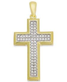 Men's Diamond Cross Pendant (1/4 ct. t.w.) in 10k Gold