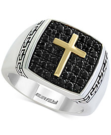 Balissima by EFFY® Men's Black Sapphire Cross Ring (1-1/4 ct. t.w.) in Sterling Silver & 18k Gold