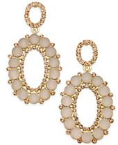 INC International Concepts Gold-Tone Pink Stone & Pavé Oval Drop Earrings, Created for Macy's