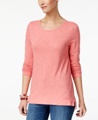 Image of Style & Co High-Low Long-Sleeve T-Shirt, Created for Macy's