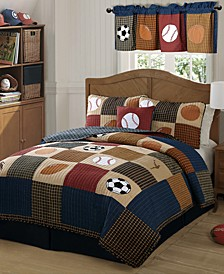 Classic Sports Reversible 3-Pc. Full/Queen Cotton Quilt Set