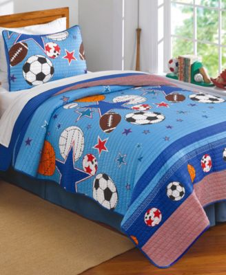 Kids Sports & Stars Reversible 2-Pc. Twin Quilt Set