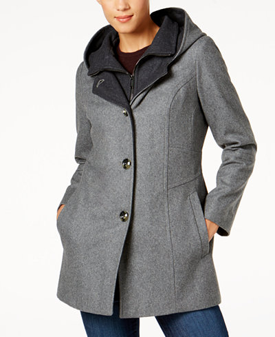 London Fog Hooded Wool Blend Peacoat Coats Women Macy S