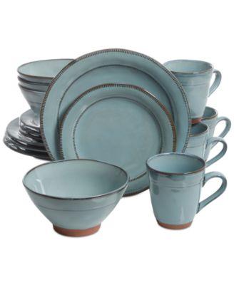 main image; main image ...  sc 1 st  Macyu0027s & Laurie Gates Valencia Teal 16-Pc. Dinnerware Set - Dinnerware ...