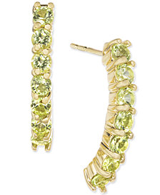 Peridot Linear Drop Earrings (1-3/8 ct. t.w.) in 14k Gold