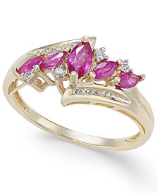Certified Ruby (3/4 ct. t.w.) & Diamond (1/10 ct. t.w.) in 14k Gold (Also in Emerald, Tanzanite and Sapphire)