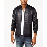 INC Men's Basket-Weave Bomber Jacket
