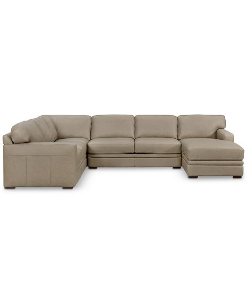 Avenell 137 3 Pc Leather Sectional With Chaise Created For Macy S