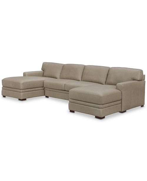 Leather Sectional With Double Chaise