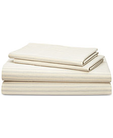 Lauren Ralph Lauren Graydon Cotton 4-Pc. Shirting Stripe Queen Sheet Set