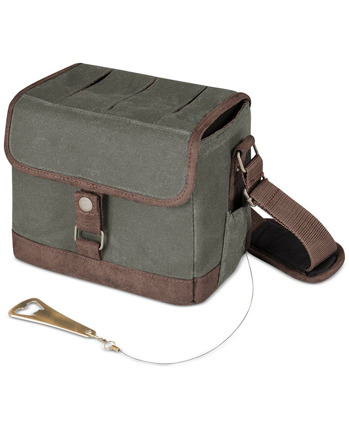 Picnic Time - Beer Caddy Khaki Green & Brown Cooler Tote with Opener