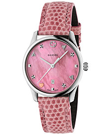 Gucci Women's Swiss G-Timeless Pink Leather Strap Watch 29mm