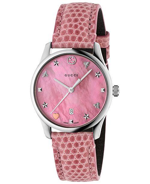 87a8660f4da Gucci Women s Swiss G-Timeless Pink Leather Strap Watch 29mm ...