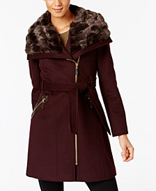 Faux-Fur-Collar Asymmetrical Belted Coat