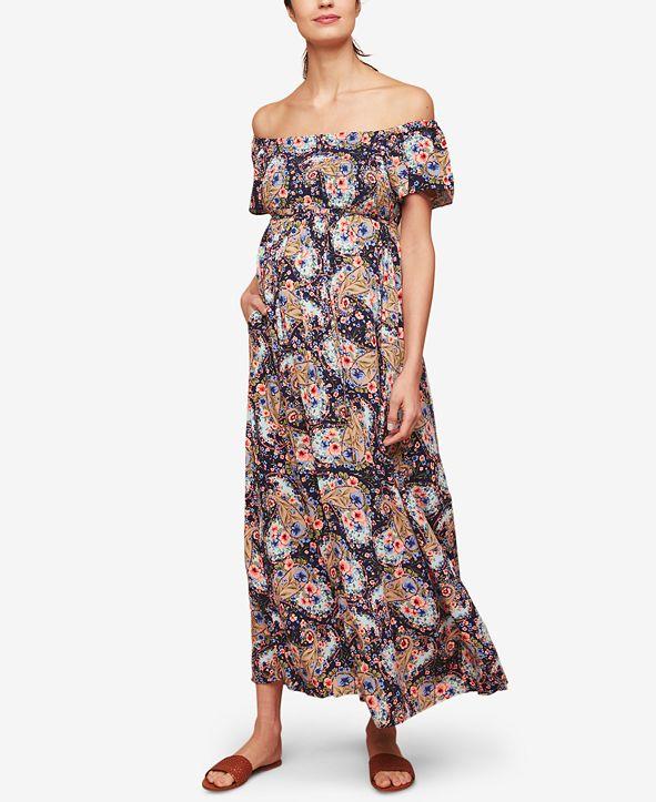 Jessica Simpson Maternity Off-The-Shoulder Maxi Dress