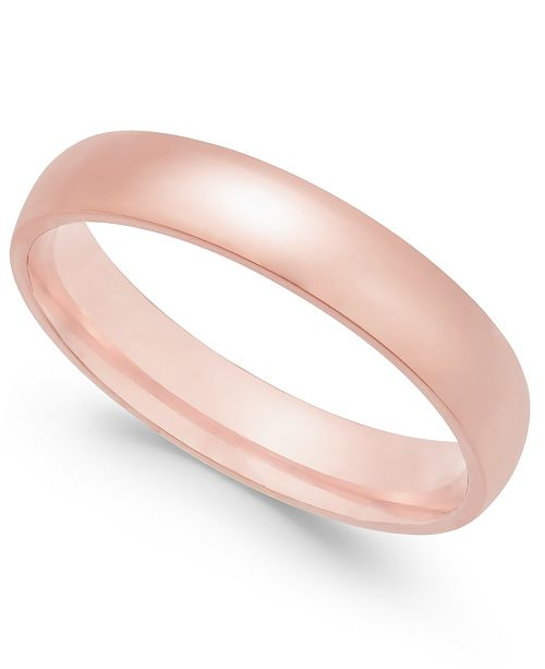 Macy's Polished Wedding Band in 18k Rose Gold