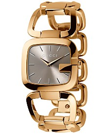 Gucci Women's Swiss G-Gucci Gold-Tone PVD Stainless Steel Bracelet Watch 24x22mm YA125511