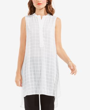 SHEER PLAID HENLEY TUNIC