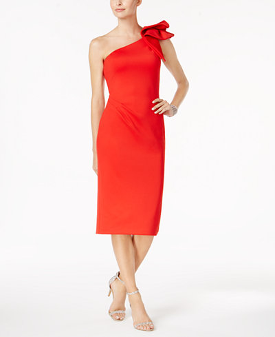 Betsy & Adam Ruffled One-Shoulder Dress