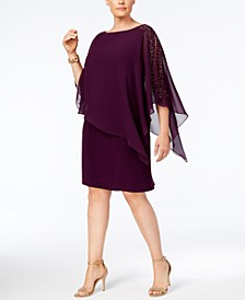 Plus Size Beaded Chiffon Popover Dress