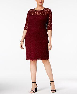 connected plus size illusion lace dress - dresses - women - macy's