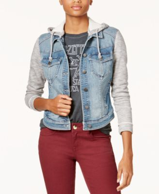 Juniors' French Terry Hooded Denim Jacket